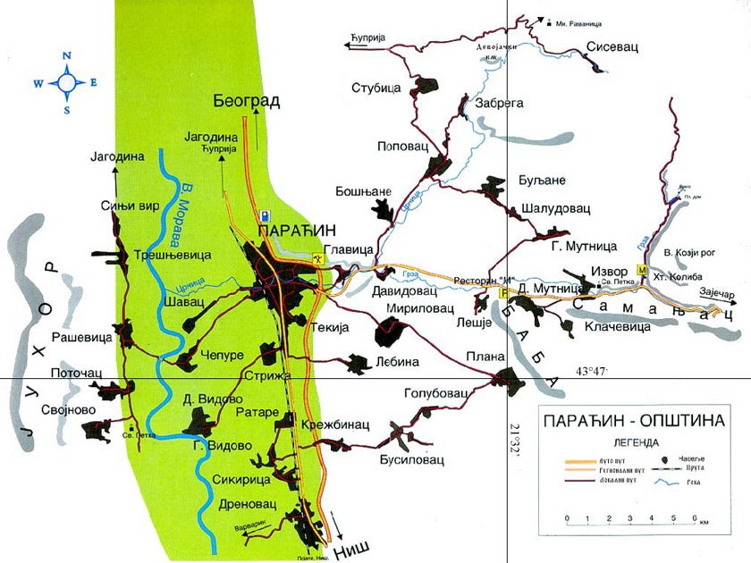 paracin mapa selo Plana paracin mapa